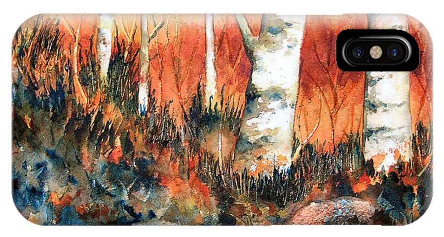 Landscape IPhone X Case featuring the painting Autumn by Karen Stark