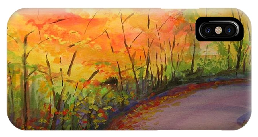 Original Landscape Impressionist Painting IPhone X Case featuring the painting Autumn Lane IIi by Lizzy Forrester