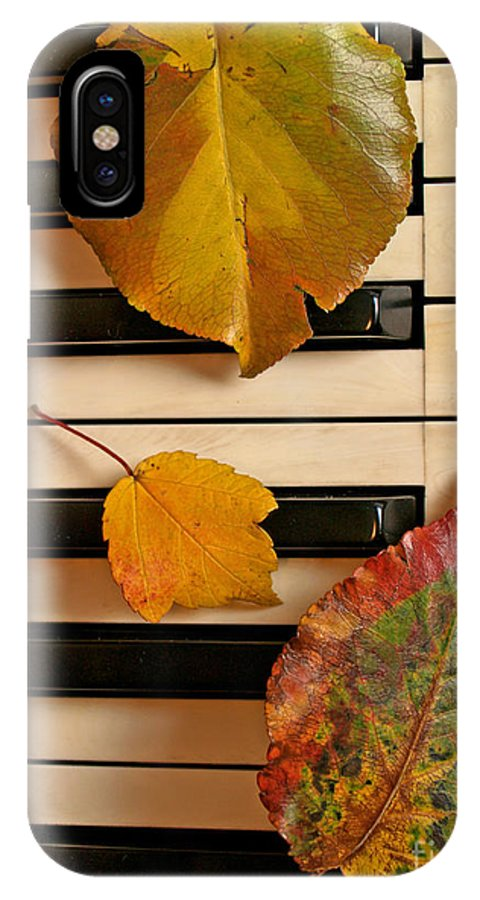 Piano IPhone X Case featuring the photograph Autumn Leaf Trio on Piano by Anna Lisa Yoder