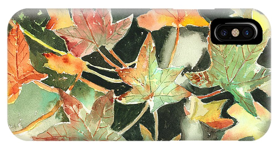 Leaf IPhone X / XS Case featuring the painting Autumn Leaves by Arline Wagner