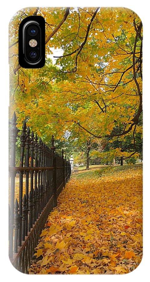 St Louis Missouri IPhone X Case featuring the photograph Autumn Leaves At Lafayette Park by Debbie Fenelon