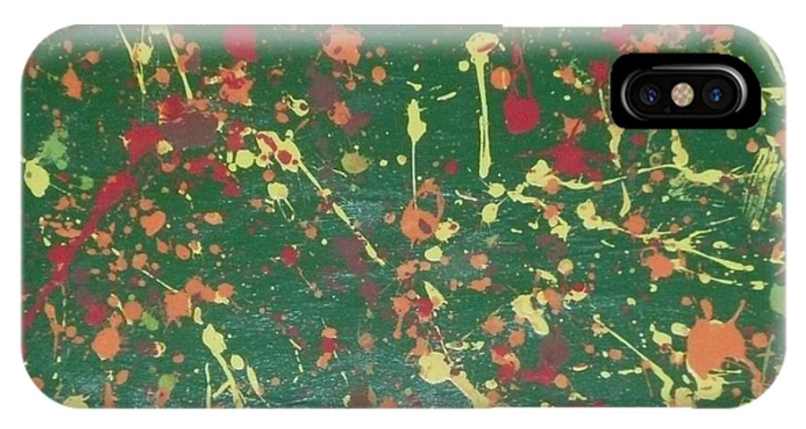 Green IPhone X Case featuring the painting Autumn Leaves by Barb Montanye Meseroll