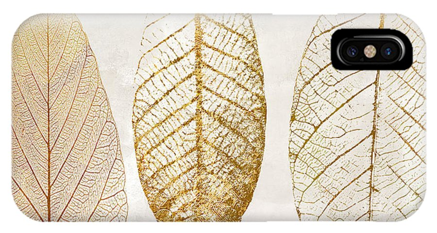 Leaf IPhone X Case featuring the painting Autumn Leaves IIi Fallen Gold by Mindy Sommers