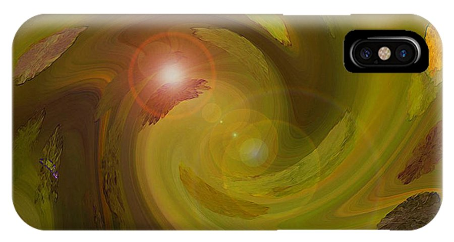 Digital Painting Abstract IPhone X Case featuring the digital art Autumn Light by Linda Sannuti