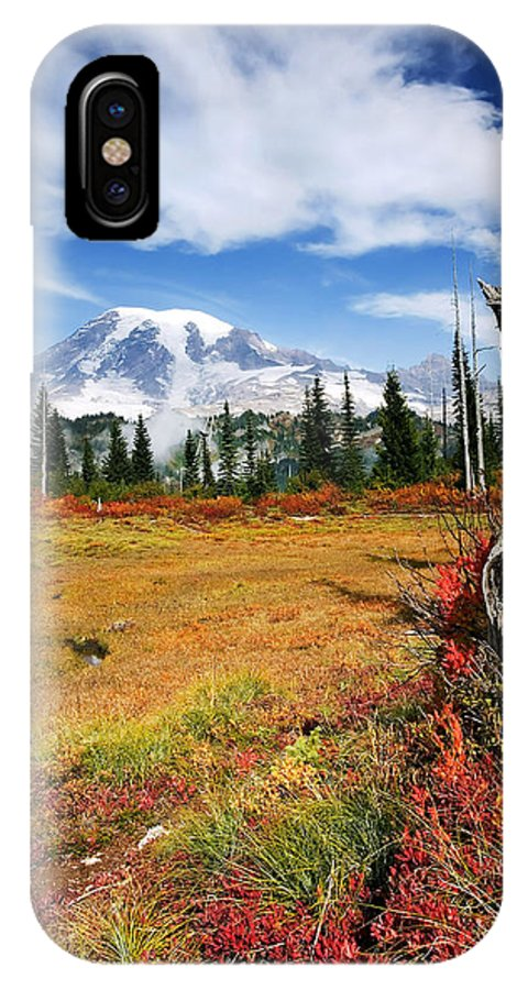 Rainier IPhone X Case featuring the photograph Autumn Majesty by Mike Dawson