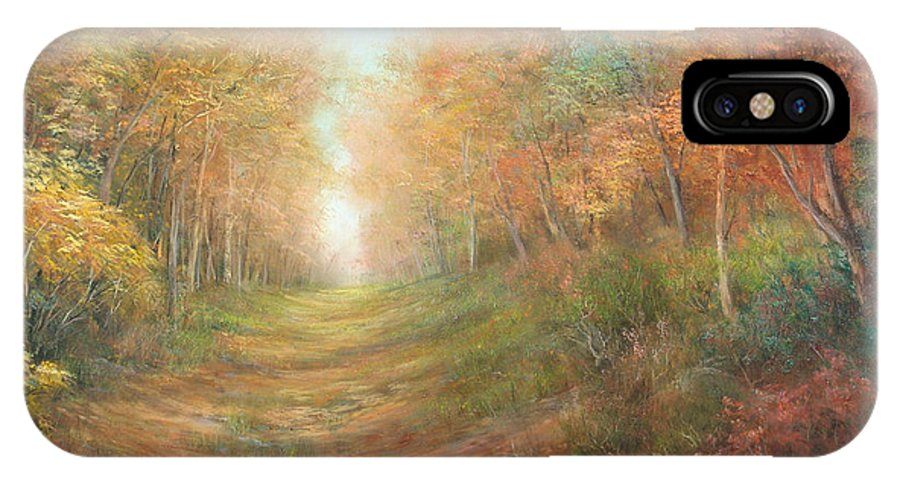 Landscape IPhone X Case featuring the painting Autumn Majesty by Sally Seago