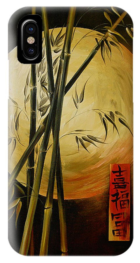 Asian Moon Bamboo IPhone X Case featuring the painting Autumn Moon by Dina Dargo