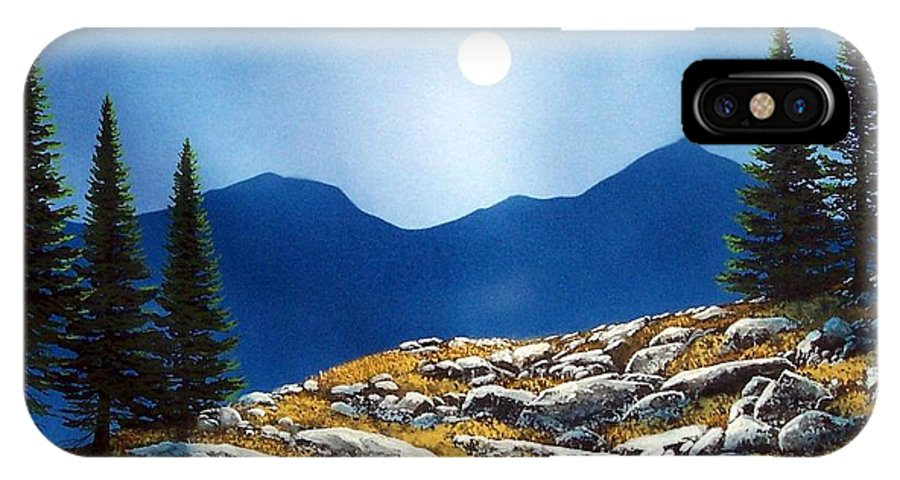 Landscape IPhone X Case featuring the painting Autumn Moon by Frank Wilson