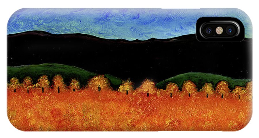 Country IPhone X Case featuring the painting Autumn Moon I by Brian Wayne Bingham