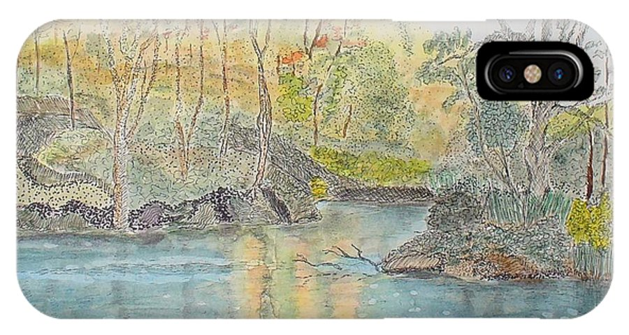 Watercolour IPhone X Case featuring the painting Autumn On The Ausable River by Peggy King
