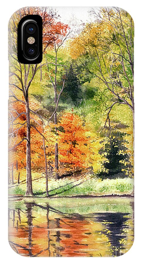Autumn IPhone X Case featuring the painting Autumn Oranges by Mary Tuomi