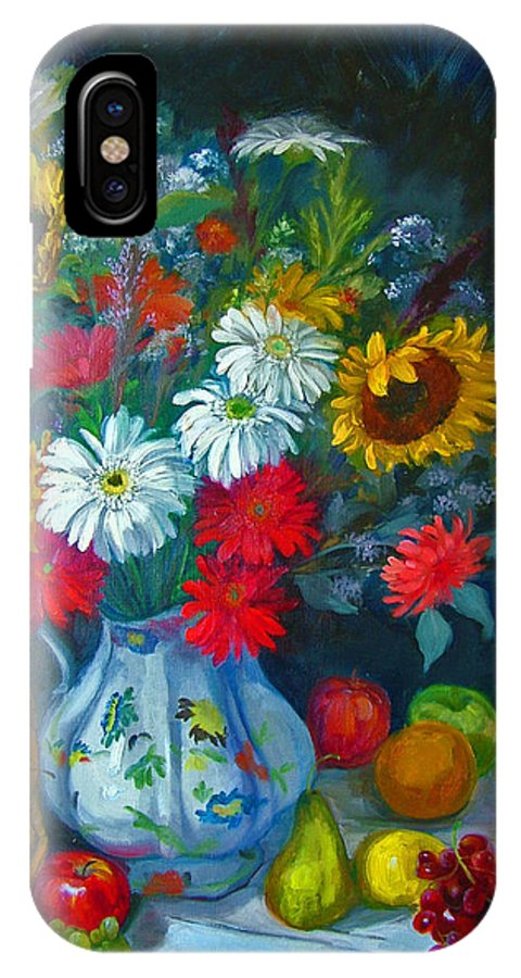 Fruit And Many Colored Flowers In Masson Ironstone Pitcher. A Large Still Life. IPhone X Case featuring the painting Autumn Picnic by Nancy Paris Pruden