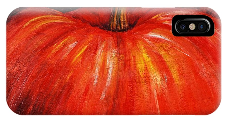 Orange IPhone X Case featuring the painting Autumn Pumpkins by Nadine Rippelmeyer
