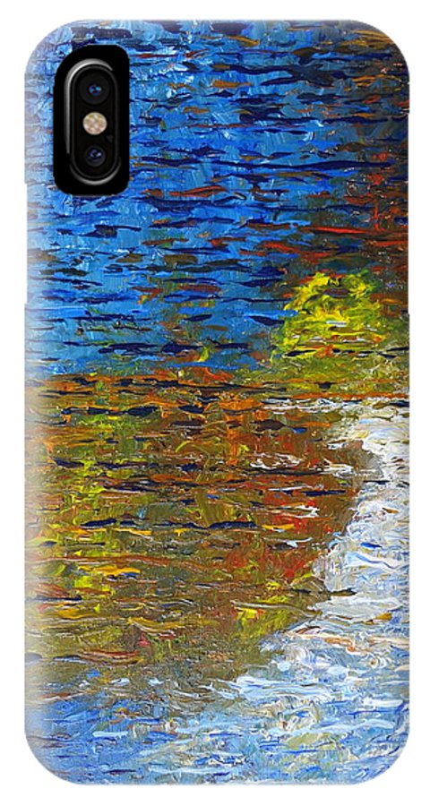 Autumn Reflection IPhone X Case featuring the painting Autumn Reflection by Jacqueline Athmann