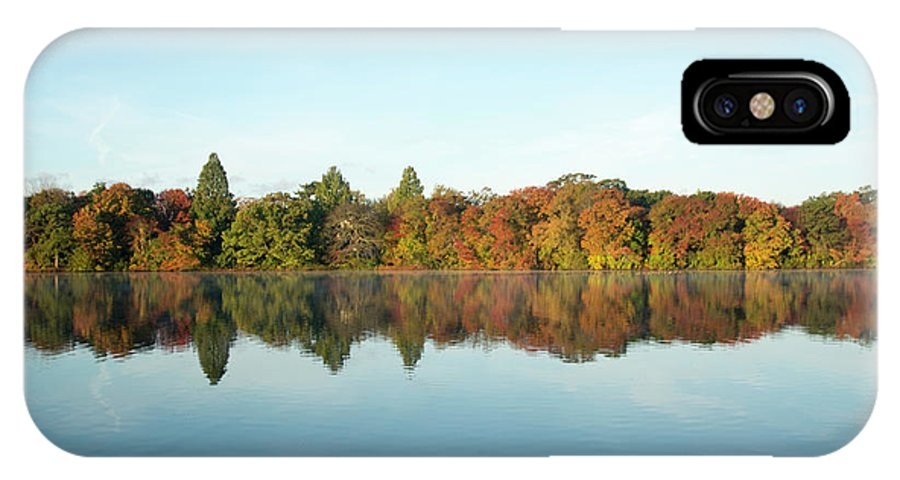 Belmont Lake State Park IPhone X Case featuring the photograph Autumn Reflections At Belmont Lake by Joan D Squared Photography