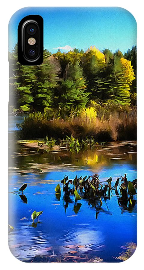 Pond IPhone X Case featuring the photograph Autumn Reflections by Claudius Cazan