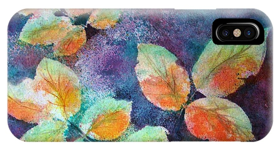 Rose IPhone X Case featuring the painting Autumn Rose Leaves by Sherri Patterson