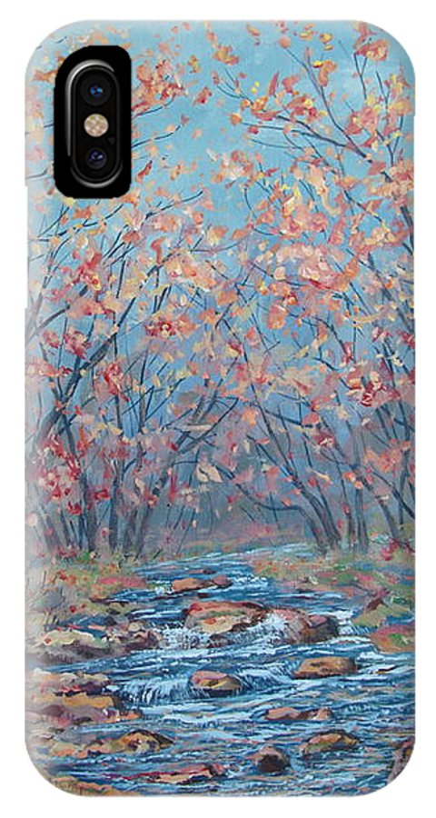 Landscape IPhone X Case featuring the painting Autumn Serenity by Leonard Holland