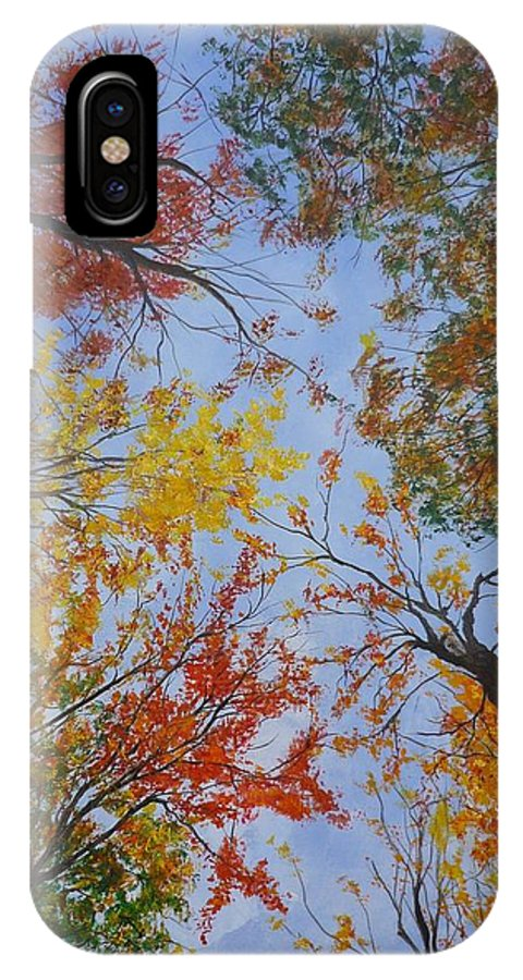 Tree IPhone Case featuring the painting Autumn Sky by Lizzy Forrester