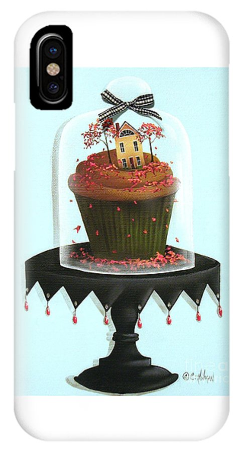 Art IPhone X Case featuring the painting Autumn Spice Cupcake by Catherine Holman
