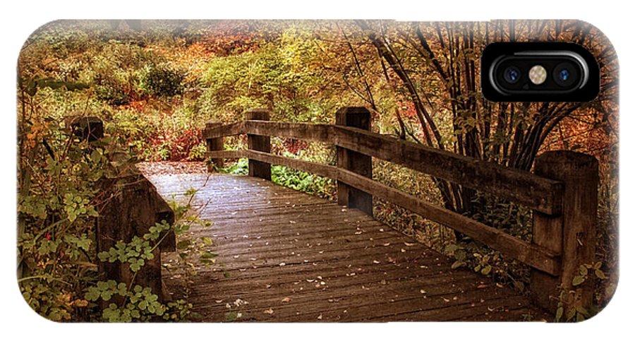 Bridge IPhone X Case featuring the photograph Autumn Splendor Bridge by Jessica Jenney