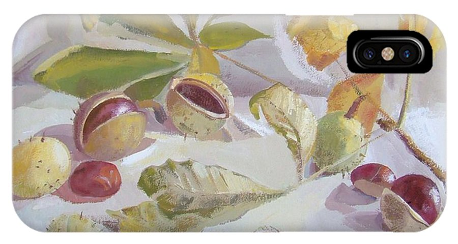 Still Life IPhone X Case featuring the painting Autumn Still Life by Elena Oleniuc