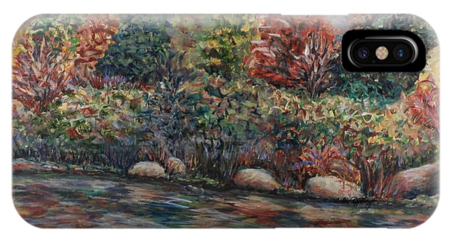 Autumn IPhone X Case featuring the painting Autumn Stream by Nadine Rippelmeyer