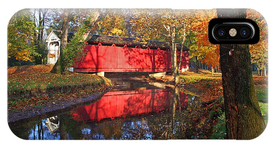 Covered Bridge IPhone X Case featuring the photograph Autumn Sunrise Bridge II by Margie Wildblood