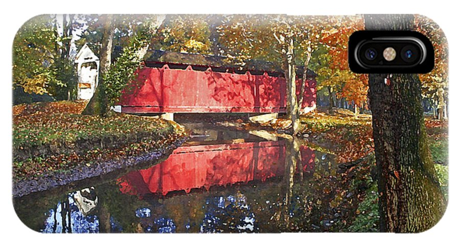 Covered Bridge IPhone X Case featuring the photograph Autumn Sunrise Bridge by Margie Wildblood