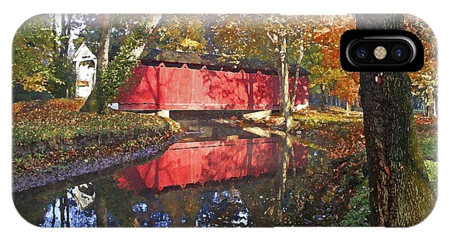 Covered Bridge IPhone X Case featuring the photograph Autumn Sunrise Bridge by Margie Wildblood