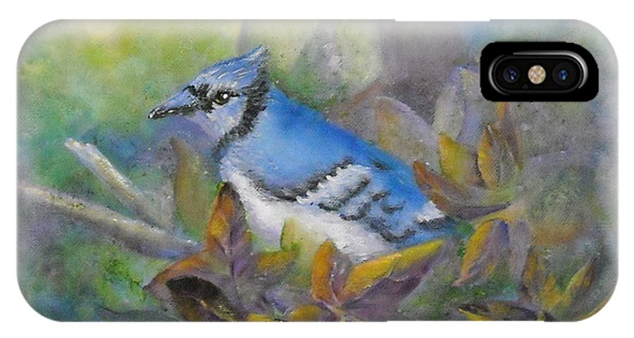 Autumn IPhone X Case featuring the painting Autumn Sweet Gum With Blue Jay by Sheri Hubbard