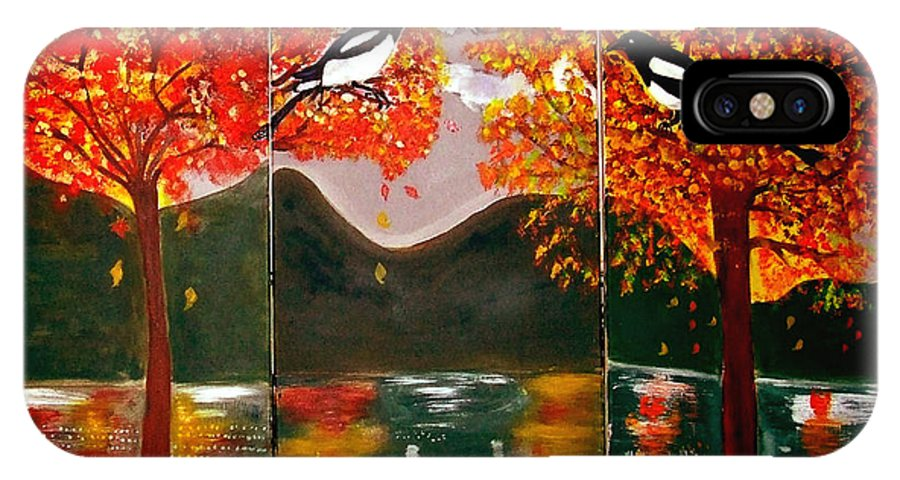 Landscape IPhone X Case featuring the painting Autumn Trilogy by Rusty Gladdish