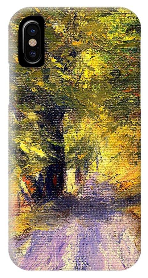 Autumn IPhone X Case featuring the painting Autumn Walk by Gail Kirtz