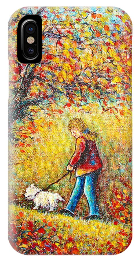 Landscape IPhone X Case featuring the painting Autumn Walk by Natalie Holland