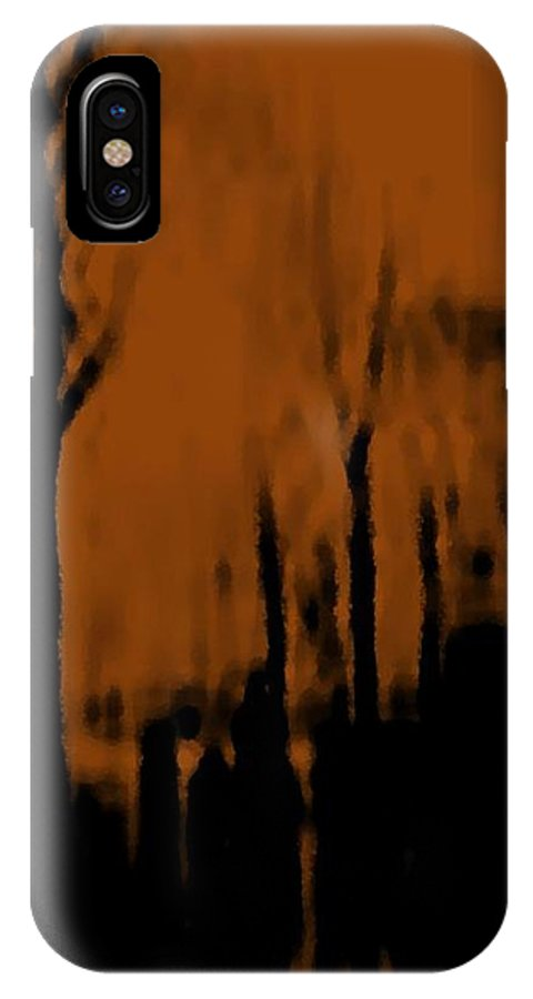 Trees.street.rain.clouds.wet People.the Naked Branches Of The Trees.the Gloomy Light. IPhone X Case featuring the digital art Autumn Wet Day by Dr Loifer Vladimir