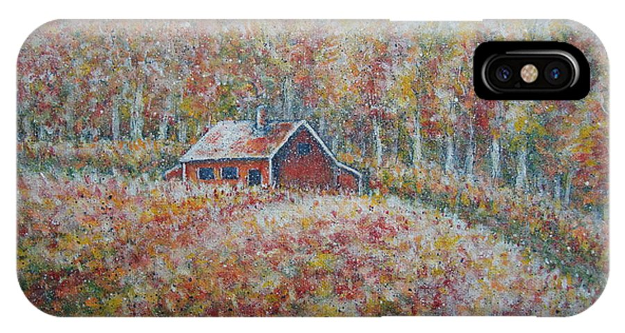 Landscape IPhone X Case featuring the painting Autumn Whisper. by Natalie Holland