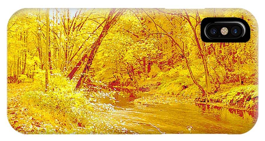 Digital Art IPhone X / XS Case featuring the digital art Autumn Woodland Stream Pennsylvania Digital Art by A Gurmankin