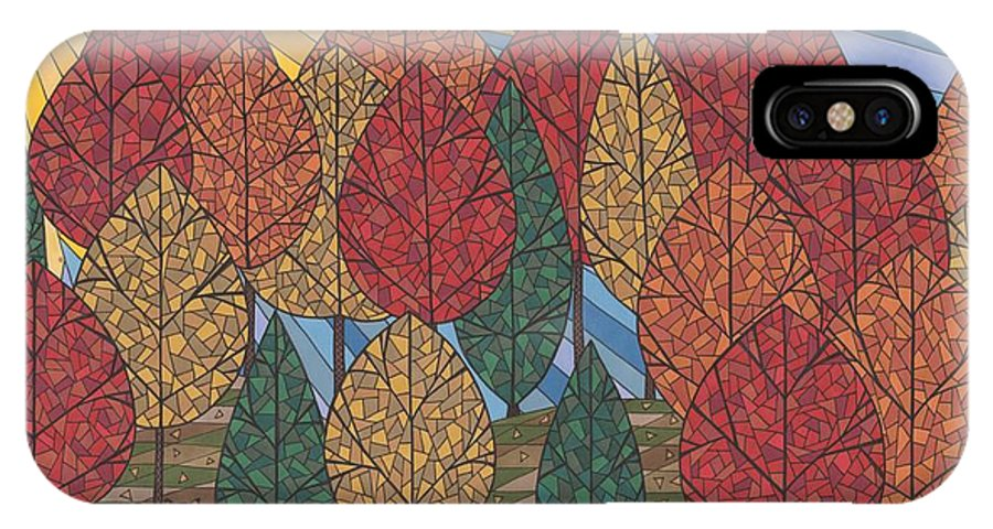 Autumn IPhone X Case featuring the drawing Autumn's Glow by Pamela Schiermeyer