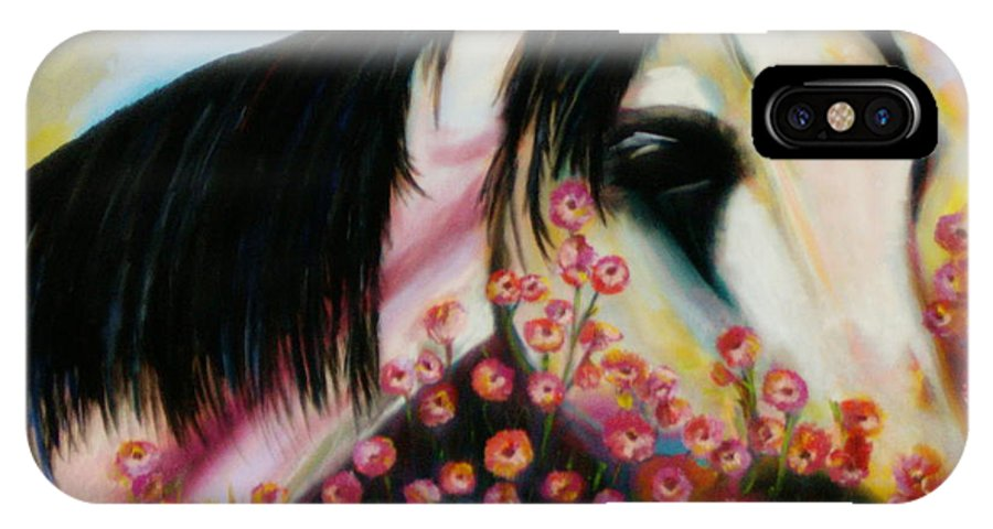 Horse IPhone Case featuring the painting Avalon's Rose by Sidra Myers