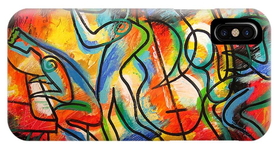 West Coast Jazz IPhone X Case featuring the painting Avant-garde Jazz by Leon Zernitsky