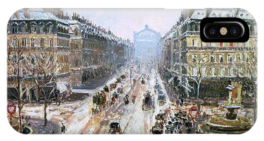 Avenue IPhone X Case featuring the painting Avenue De L'opera - Effect Of Snow by Camille Pissarro