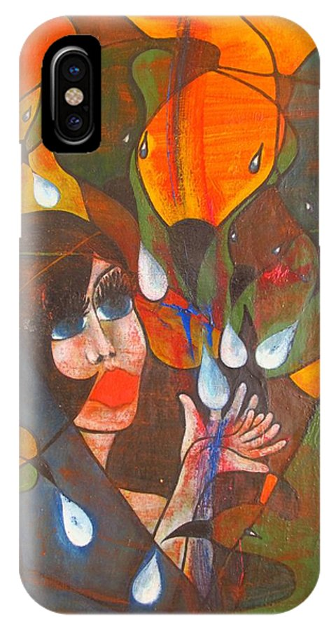 Colour IPhone X / XS Case featuring the painting Aves by Wojtek Kowalski