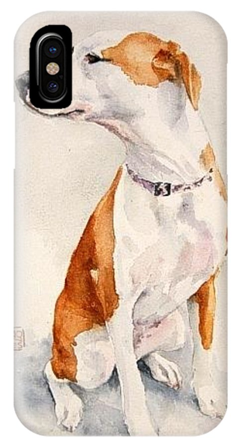 Dog IPhone X Case featuring the painting Aviator by Debra Jones