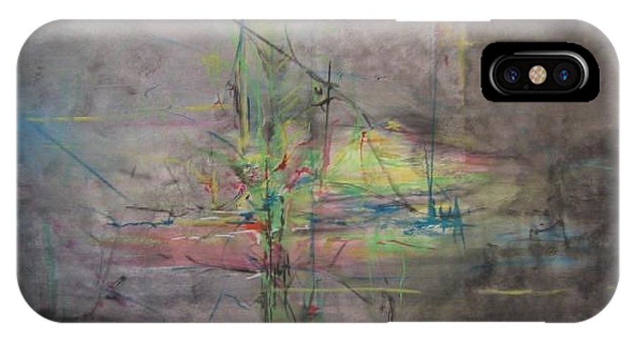 Abstract IPhone X Case featuring the painting AWAKENING ABSTRACT 1 Black Background Bright Detail by Lizzy Forrester