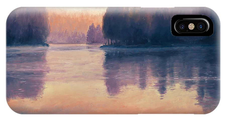 Fish Hawk Lake Oregon IPhone X Case featuring the painting Awakening by Michael Orwick