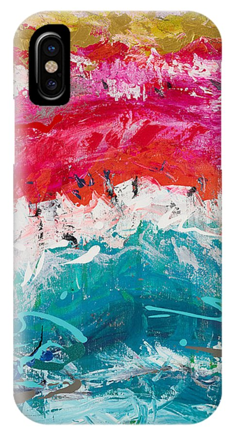 Abstact IPhone X Case featuring the painting Awakening Sunrise by Johanne Fortier
