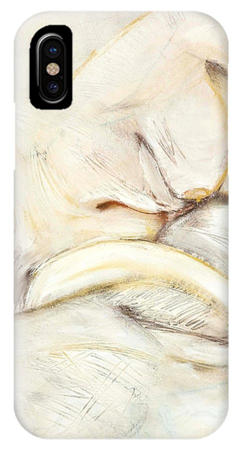 Female IPhone X Case featuring the drawing Award Winning Abstract Nude by Kerryn Madsen-Pietsch