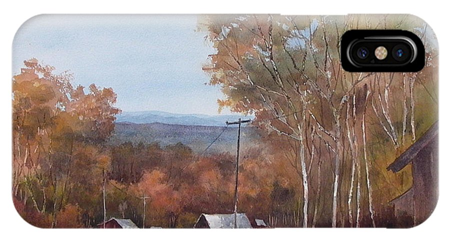 Landscape IPhone X / XS Case featuring the painting Awesome Autumn by Tina Bohlman