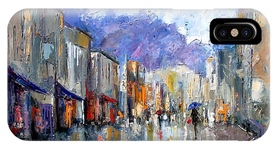 Architecture IPhone X Case featuring the painting Awnings by Debra Hurd