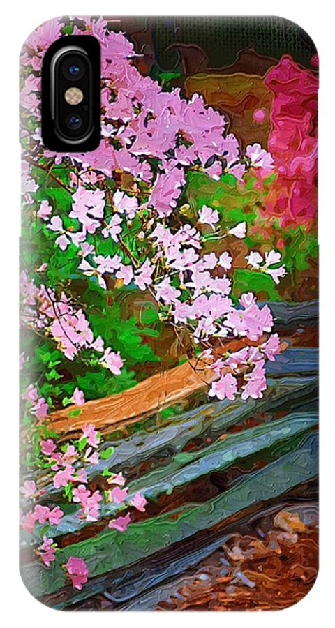 Flowers IPhone X Case featuring the photograph Azaleas Over The Fence by Donna Bentley
